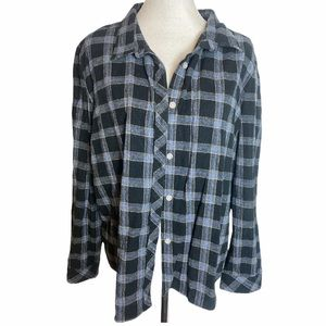 Hasting & Smith Cotton Flannel Top Blue Plaid 2X